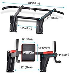 OneTwoFit Multifunctional Wall Mounted Pull Up Bar Power Tower Set Chin Up Station Home Gym Workout Strength Training Equipment Fitness Dip Stand Supports to 330 Lbs 3 Home Made Gym, Diy Home Gym, Gym Room At Home, Home Gyms, Home Gym Garage, Basement Gym, Workout Room Home, Workout Rooms, Diy Gym Equipment