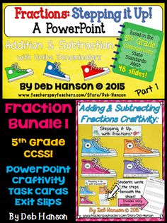 Fractions Bundle based on the 5th Grade Common Core State Standards: adding and subtracting fractions and mixed numbers with unlike denominators; word problems.  Includes a PowerPoint with a matching student study guide, craftivity, task cards & exit slips!