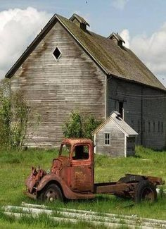 Barn With Water Stains & Old Worn Out Truck-Abandoned From Beverly Keller More