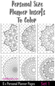 Free printable planner pages to color for a personal size planner. Planner coloring pages inserts to color and customize. Others sizes also available for free on our site :) Printable Planner Pages, Bullet Journal Printables, Printable Paper, Free Printables, Mini Happy Planner, Free Planner, Work Planner, Planner Ideas, Planner Dividers