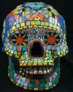 Mosaic Sugar Skull Dia de los Muertos Stained Glass by Jiveworks, $450.00