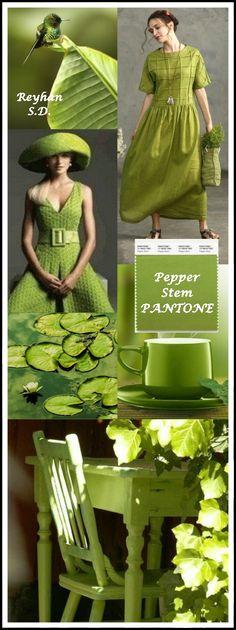 Pepper Stem Pantone Spring/ Summer 2019 Color by Reyhan S. Pantone Colour Palettes, Pantone Color, Fashion Colours, Colorful Fashion, Green Fashion, Quoi Porter, Color Collage, Colour Pallette, Color Balance
