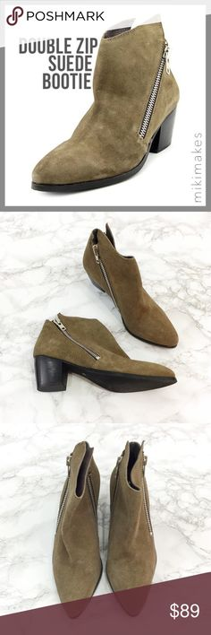 """🆕 MATISSE • frankie suede zipper bootie • brand new without box (comes in a dust bag) • double silver side zip • brown-grey color suede • small heel • pointed toe  100% leather upper  Heel height= 2.5"""" Shaft height= 5""""  • Feel free to ask any questions • Sorry, no trades  ❤️ @mikimakes Matisse Shoes Ankle Boots & Booties"""
