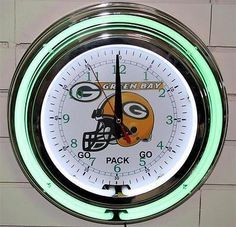 New 14 Inch Green Bay Packers Neon Wall Clock Garage Pub Bar Signs Home Decor