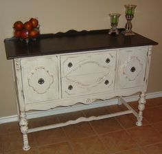 Facelift Furniture: Distressed Dark Brown and Antiqued White Buffet