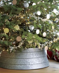 Guest Picks: Cool Alternatives to Christmas Tree Skirt--- galvanized tree collar, Crate and Barrel. Christmas Trends, Christmas Love, Country Christmas, All Things Christmas, Christmas Holidays, Happy Holidays, Xmas, Coastal Christmas, Holiday Fun