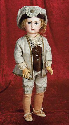"23"" (58 cm.) French Bisque Bebe Steiner ""Le Parisien"" in Silk Marquis Costume 2800/3800"