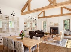 farmhouse dining room with exposed beams