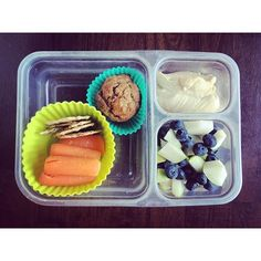 School lunch: homemade banana muffin (from freezer), Mary's Gone Crackers and baby carrots, hummus, pears and blueberries. Almost all organic.