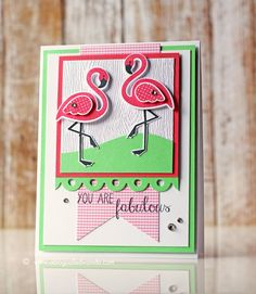 Fabulous flamingos! Card by Wanda Guess. Reverse Confetti stamps.