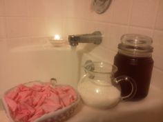 Homemade spa luxury bath DIY. Rose - Milk spa bath. 1 - 2 cups milk (dry or liquid) full fatted works best. 2 – 3 cups homemade rosewater (simply steep rose petals like tea and strain. Use 1 cup dried petals or 2 cups fresh petals to 2 cups boiling water to steep). A few drops of rose essential oil (optional for scent). Drop a few handfuls of fresh petals into the tub for the finishing touch, this is my personal favorite. Use: simply pour ingredients under running water.