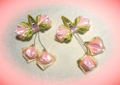 DIY hairpin for girl, satin ribbon flower, Kanzashi Tutorial Satin Ribbon Flowers, Ribbon Art, Diy Ribbon, Ribbon Crafts, Flower Crafts, Ribbon Bows, Fabric Flowers, Ribbons, Kanzashi Tutorial
