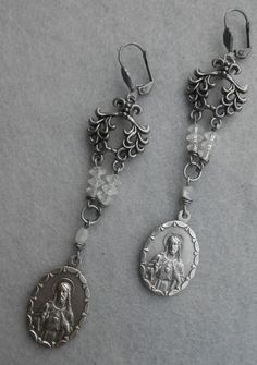 Religious Assemblage Earrings, Catholic Medal, Repurposed Vintage, Sacred Heart