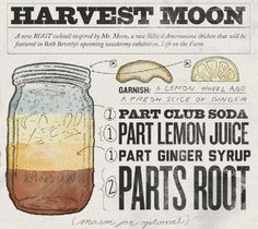 Harvest Moon Cocktail - 1 part club soda, 1 part lemon juice, 1 part ginger syrup and 2 parts Root