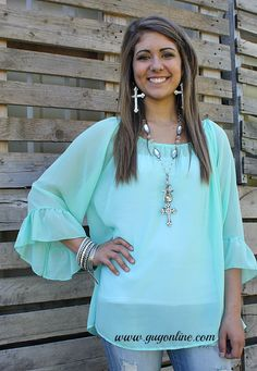 Feeling the Breeze Sheer Top in Mint $29.95 Small-3XL www.gugonline.com