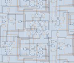 Logic_Gates_Blue fabric by plaid_thursdays on Spoonflower - custom fabric Electronics Projects, Blue Fabric, Custom Fabric, Spoonflower, Gates, Gift Wrapping, Plaid, Digital, Wallpaper
