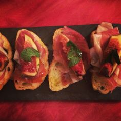 Crostini with Proscuitto, Fig & Mint