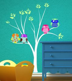 This is WAY too precious... I've seen those tree+owl wall decals before, and I always love the way they look.