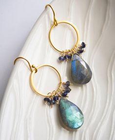 Labradorite Earrings Gemstone Jewelry Blue Earrings by laurastark, $110.00