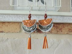 Boucles d'oreilles capsules de café nespresso orange et kaki : Boucles d'oreille par lechiffonnierencouleurs