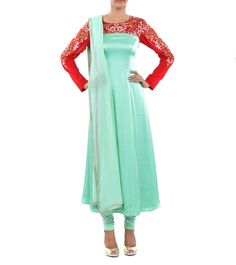 Red & Green Embroidered Georgette Kurta Set #indianroots #ethnicwear #kurtasets #georgette #embroidered #summerwear