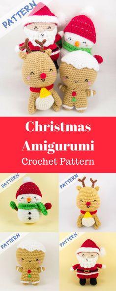 Crochet Christmas Patterns - Set of 4 (Snowman, Gingerbread Man, Reindeer, Santa) -- Christmas Amigurumi Patterns - Crochet Holiday Pattern #christmasamigurumipattern #crochetamigurumi #christmas #ad