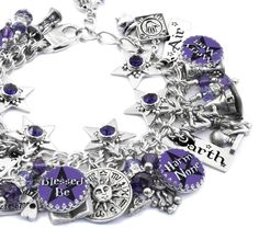 """My jewelry store features handmade jewelry, charm bracelets, necklaces, earrings, this magical """"Blessed Be"""" Wicca charm bracelet, Halloween jewelry and over 400 more unique jewelry designs. My jewelry"""