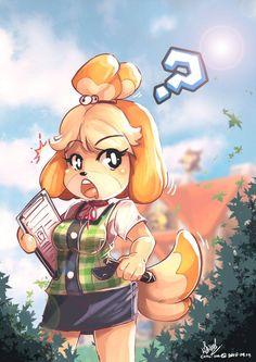 Isabelle - Animal Crossing color by Charochai ----- Animal Crossing Wild World, Animal Crossing Memes, Animal Crossing Villagers, Animal Crossing Pocket Camp, Neko, Heavy Metal Art, Furry Girls, Anime Furry, Fan Art