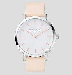 The Horse   Standard Watch   Polished Steel / White Face with Rose Gold Indexing and Vegetable Tanned Leather Band