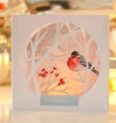 Beautiful cut-out 3D winter scene Christmas card (free printable) // Áttört hatású 3D téli táj képeslap madárkával (ingyenes sablonnal) // Mindy - craft tutorial collection