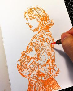 🍊 #pentel brushpen on #leuchtturm1917 note. #illustration #drawing #sketch #sketchbook #ink #portrait #uniquelab #uniquelabart…