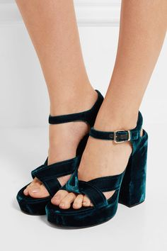 Heel measures approximately 100mm/ 4 inches with a 30mm/ 1 inch platform Teal velvet Buckle-fastening ankle strap Made in Italy