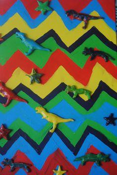 dinosaur art Dinosaur Projects, Dinosaur Art, Crafty Kids, Flag, Crochet, Crafts, Manualidades, Ganchillo, Science