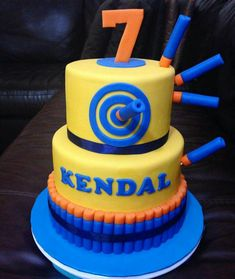 The Best Nerf Gun Birthday Cake .Parents can now easily order cartoon cakes for birthday quickly with the aid of our exact same day, midnight and express delivery services. Nerf Birthday Party, Birthday Cake Card, Nerf Party, Boy Birthday, Birthday Ideas, Birthday Board, Nerf Gun Cake, Battle Party, Gun Cakes