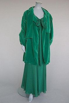 ~A Jeanne Lanvin couture emerald green velvet evening coat, 1930s~
