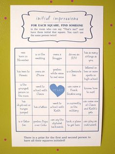 Image result for example of engagement party icebreaker bingo game with fun facts