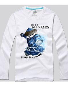 Dota 2 herói espírito da tempestade impresso camiseta de manga longa para homens-