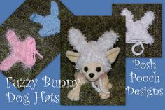 Crochet Pattern  Fuzzy Bunny Dog Hat  Dog by poshpoochdesigns, $3.99