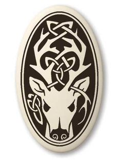 Celtic Stag Deer Pendant - Handcrafted Porcelain Oval Stag Cernunnos Necklace