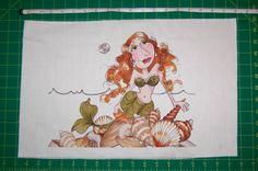 "Loralie Designs - NEW!!! Large Portrait Fabric Panel ""Mermina Mermaid"" - 18"" X 12"""