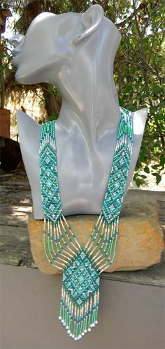 Ethnic Long Beaded Necklace Turquoise Dreams free by Anabel27shop,