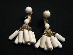 Vintage Gold Tone and White Lucite Beaded by JewelryStash on Etsy, $5.99