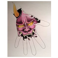 #hannya #evil #mask #japanese #tattoos #design #original #handjob #hand #tattoo #ink #color #purple #prismacolor #pencils #edm #apprentice #art #drawing #sotd #sydney #australia @rubixcubetattoo
