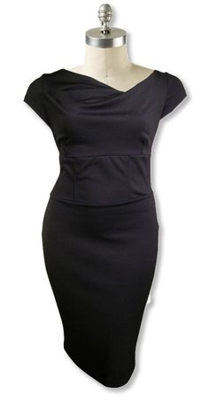 Classic black hourglass dress with asymetric neckline.  Available up to size 28.  www.bandlu.com