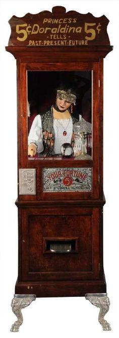 Princess Doraldina fortune teller machine - 5 cents! ( Fortune Teling Machine / Mechanical Fortune Teller  / Circus / Fair / carnival / antique / vintage / psychic reading )