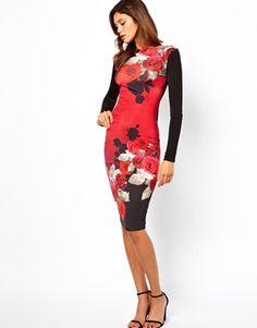 Image 1 of ASOS Pretty Rose Print Body-Conscious Dress - with a white blazer