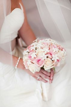 Pink roses and stephanotis make for a sweet and chic bouquet. Bridal Bouquets, Wedding Flowers, Floral Design