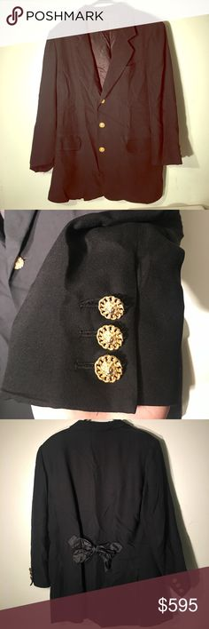 VTG Moschino Milano bow tie blazer Vintage 80s-90s Moschino Milano blazer with bow tie on the back. Two front flap pocket, gold Button. Beautiful piece. Some wear/imperfections like thread pulls but can be repaired by a tailor. Ultra rare piece. Totally contemporary and wearable. Moschino Jackets & Coats