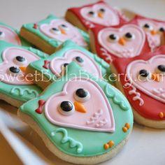 Cute Valentine Owl Cookies by Sweet Bella Bakery