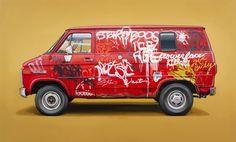 Preciosos retratos al óleo de furgonetas yanquis. Pero encima de ser buenas pinturas realistas, impresiona mucho más el gran trabajo de reproducción con tanta fidelidad y detalle de los graffitis, las pintadas y las manchas que estas tienen.                  …